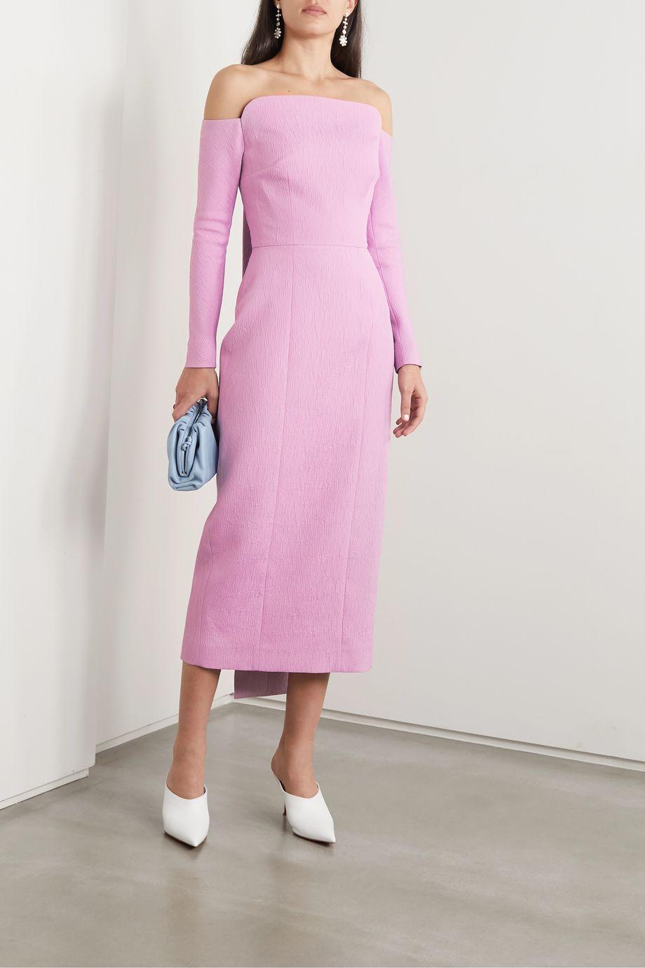 Emilia Wickstead Nolan off-the-shoulder cloqué midi dress
