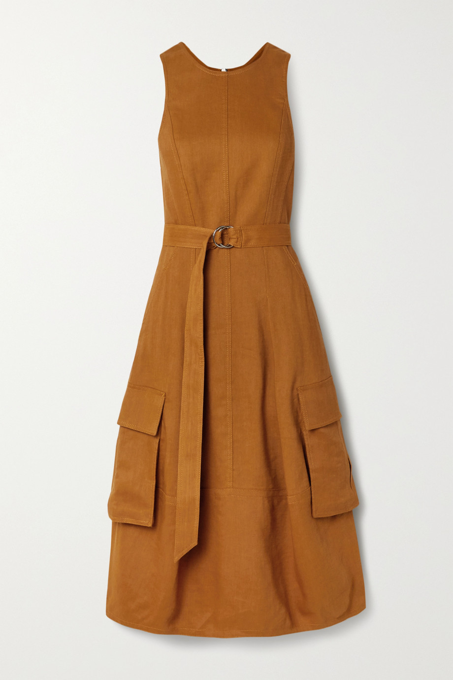 Tibi Cutout linen-blend twill midi dress