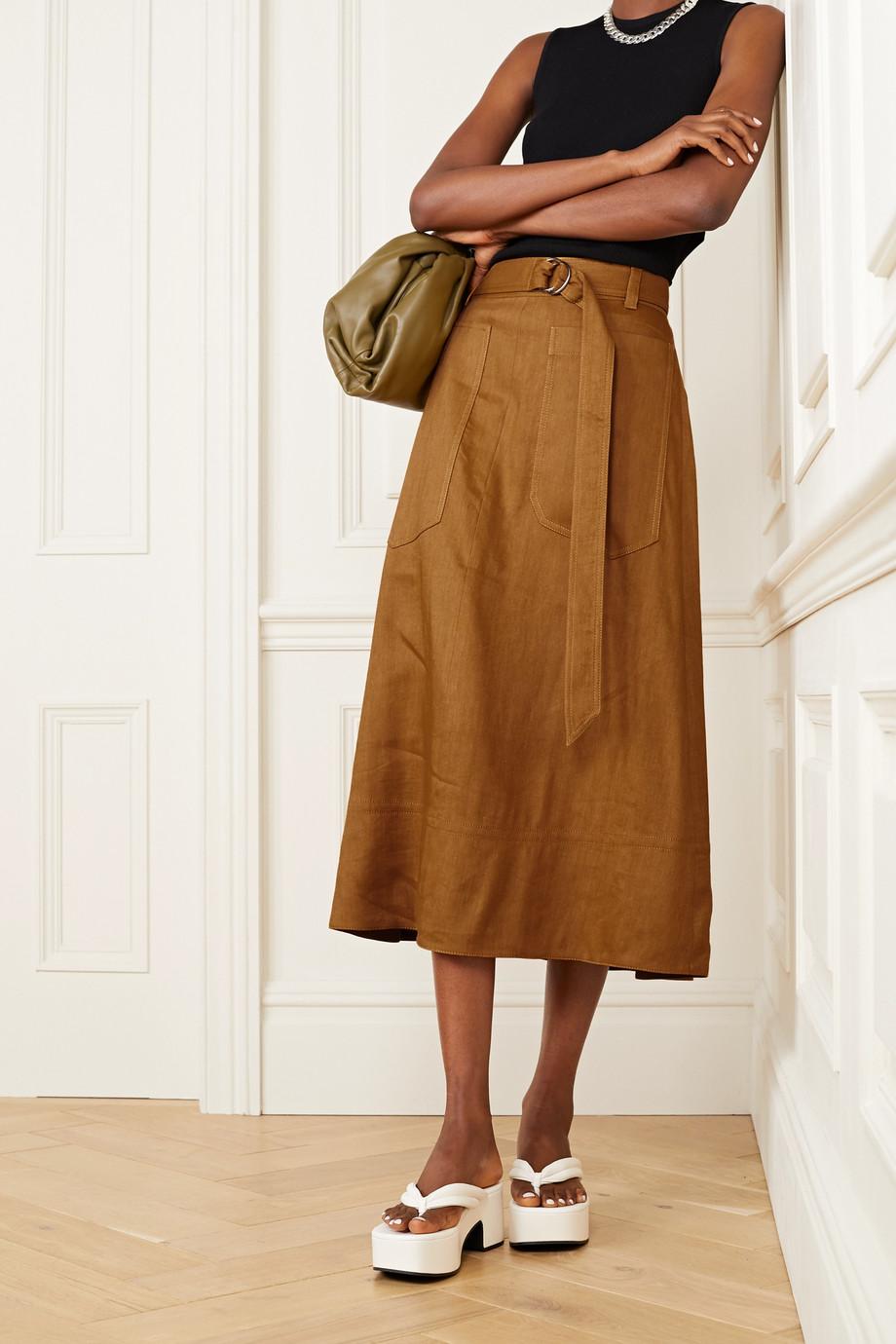 Tibi Belted linen-blend midi skirt