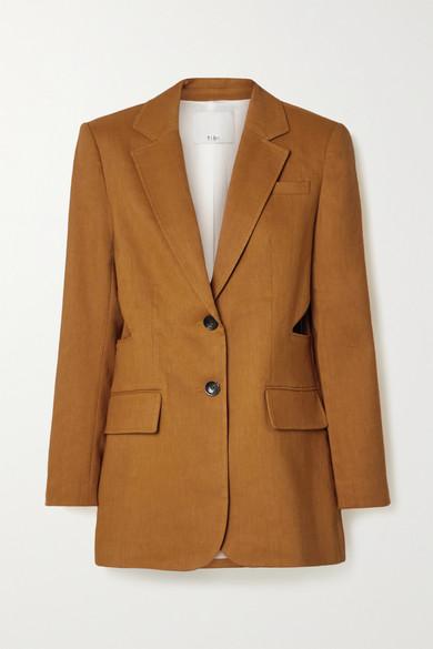 Tibi - Cutout Linen-blend Blazer - Tan