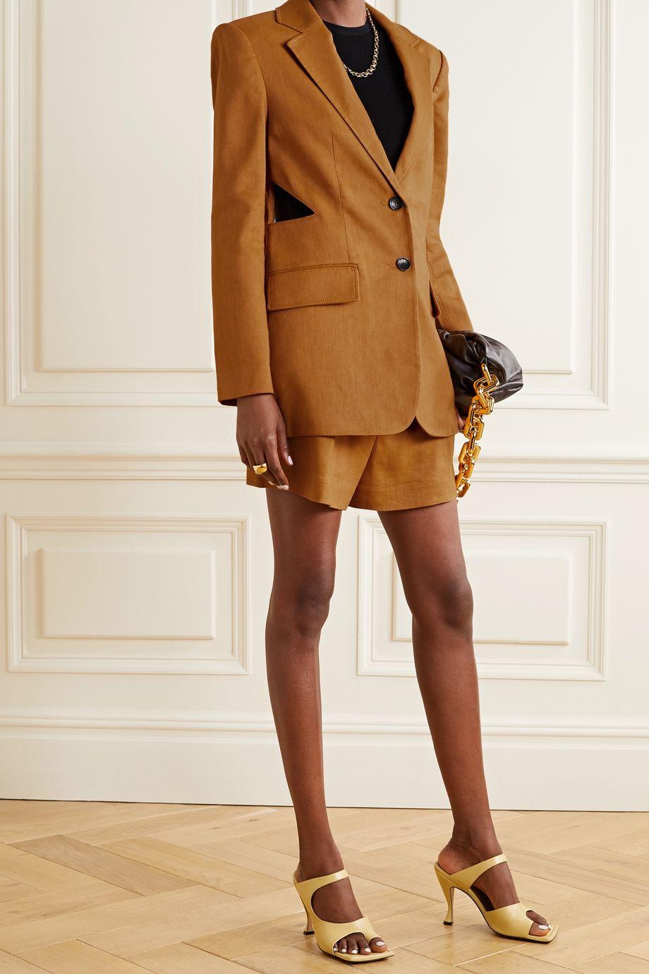Tibi Cutout linen-blend blazer