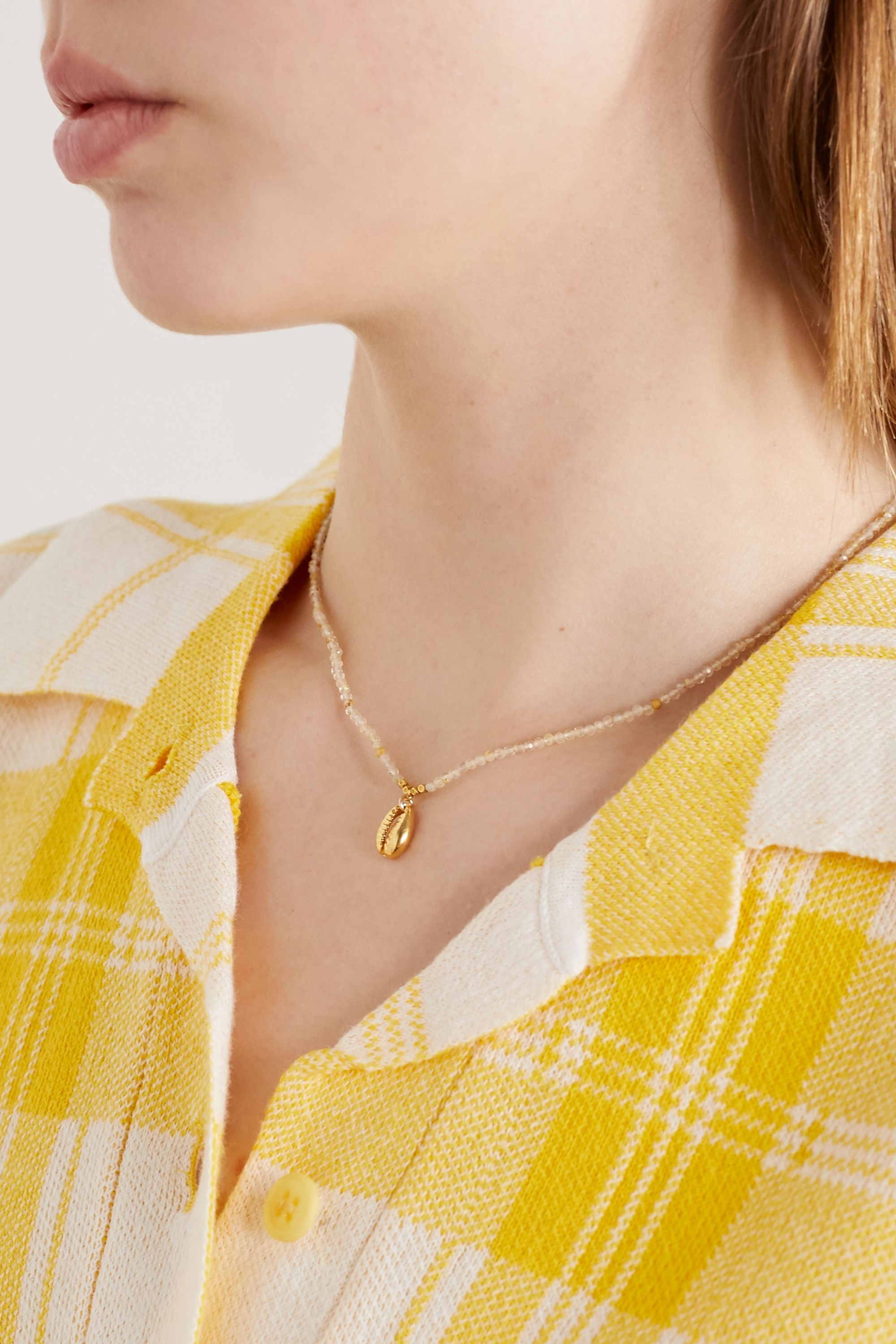 Chan Luu Gold-plated and quartz necklace