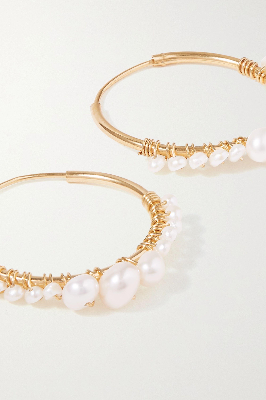 Chan Luu Gold-plated pearl hoop earrings
