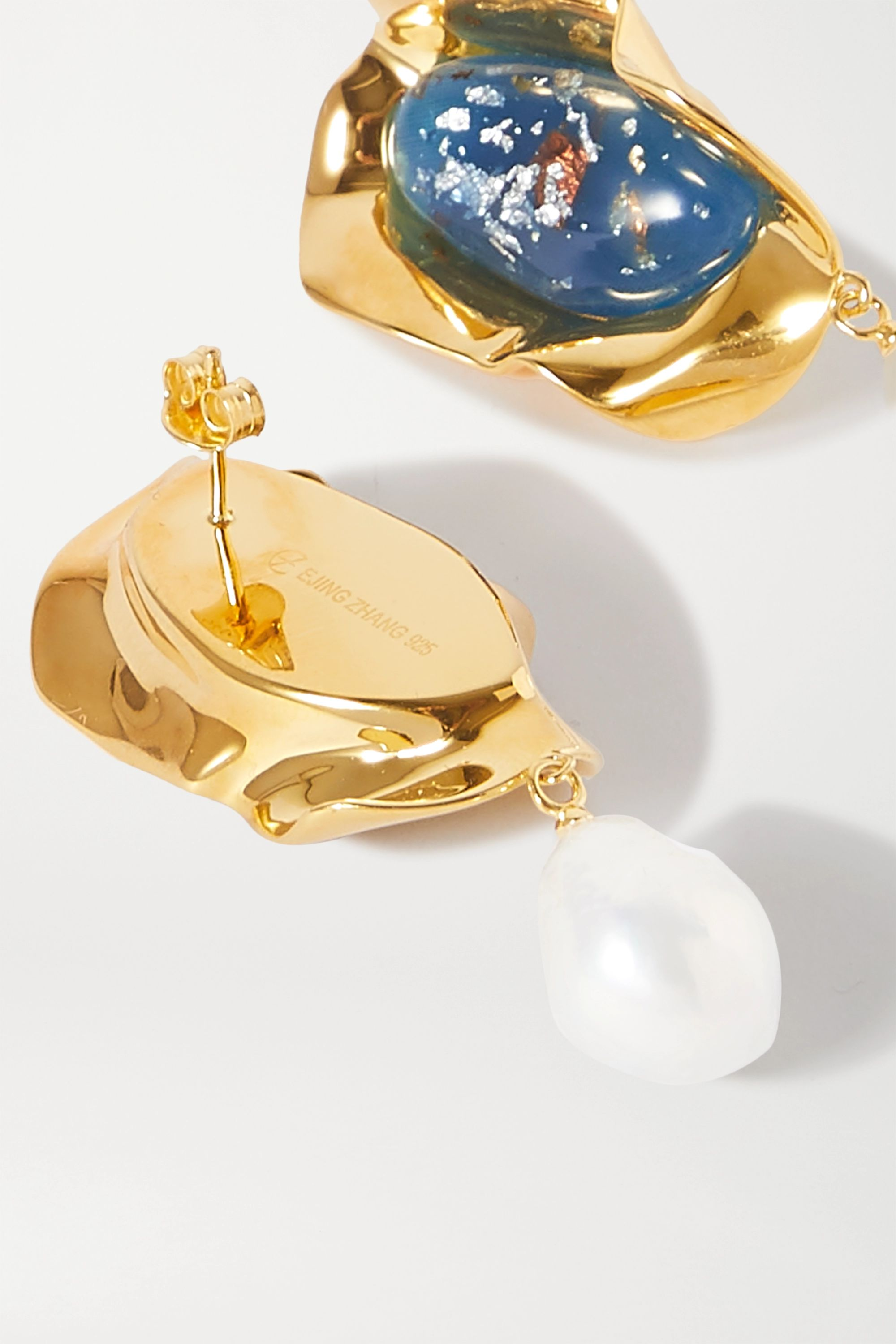 Ejing Zhang Sabra gold-plated, resin and pearl earrings