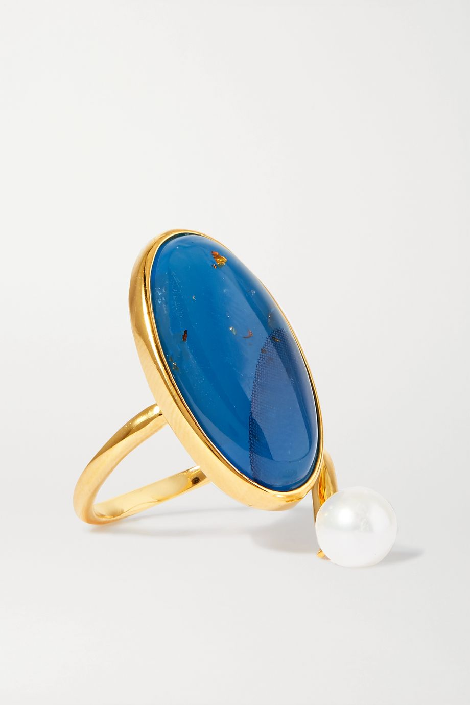 Ejing Zhang Geo gold-plated, resin and pearl ring