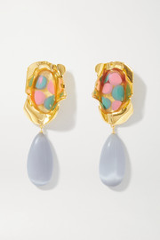 Ejing Zhang Sabra gold-plated and resin earrings