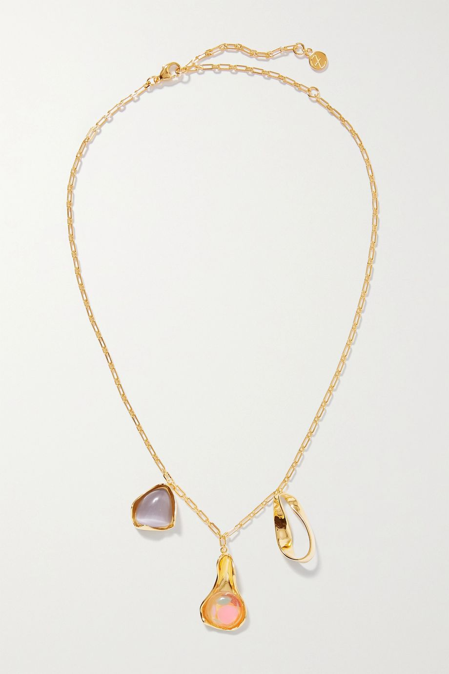 Ejing Zhang Dyce gold-plated resin and cat's eye necklace