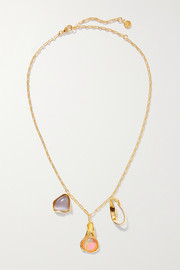 Dyce gold-plated resin and cat's eye necklace