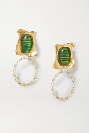 Ejing Zhang Rhode gold-plated, resin and glass earrings