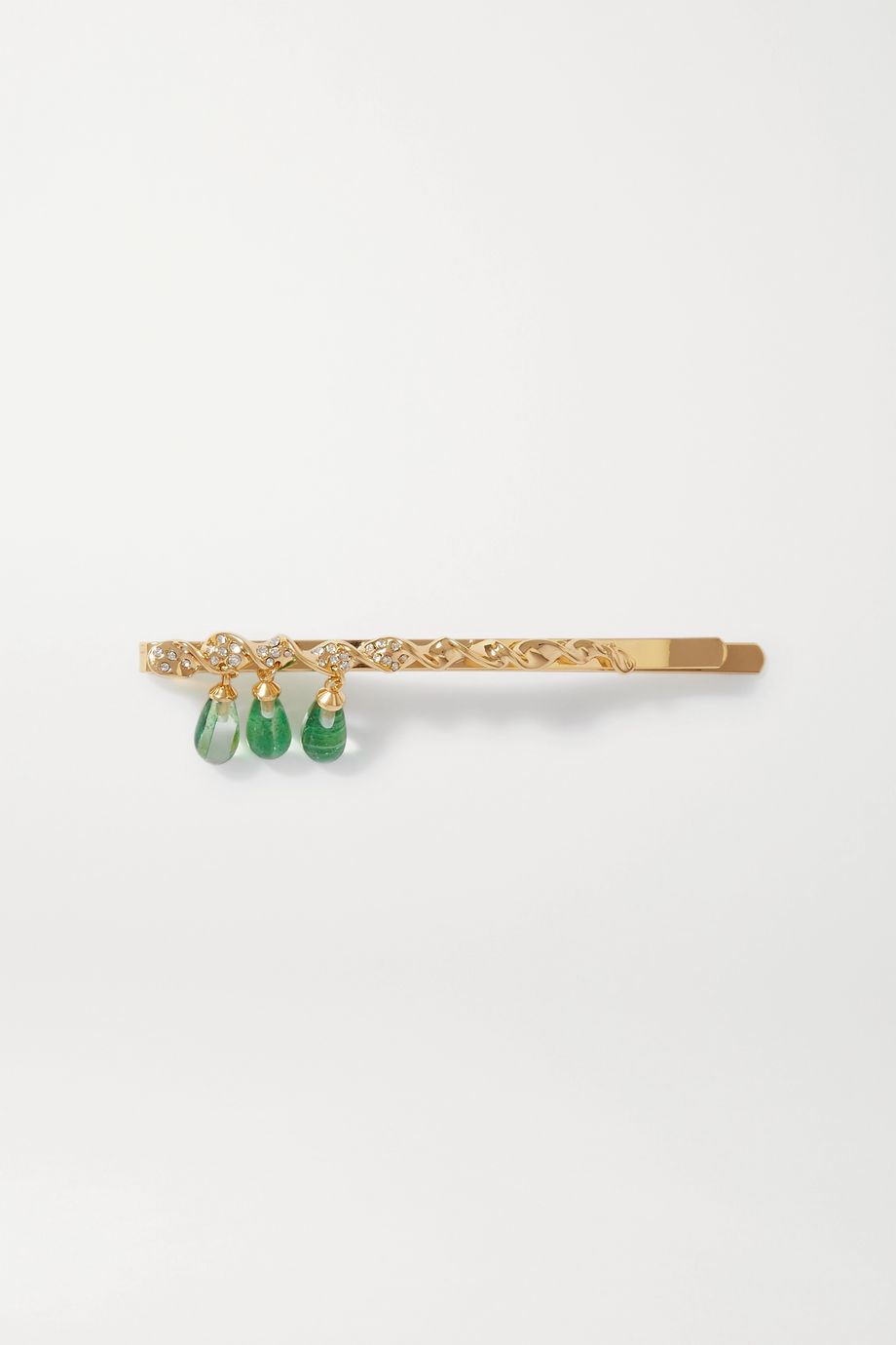 Ejing Zhang Dante gold-plated, resin and crystal hair slide
