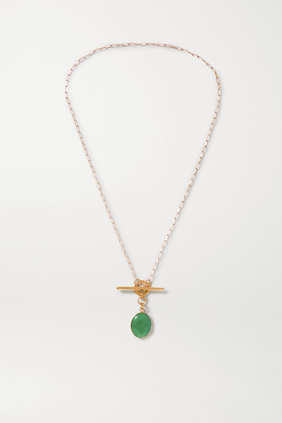 Loren Stewart + NET SUSTAIN 14-karat gold jade necklace