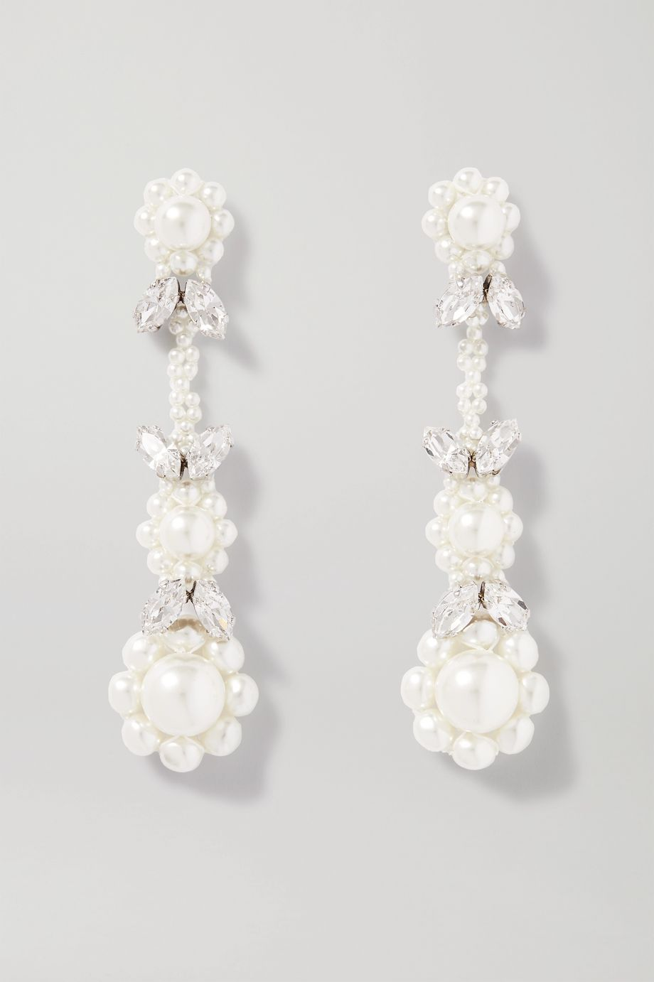 Simone Rocha Victorian silver-tone crystal and faux pearl earrings