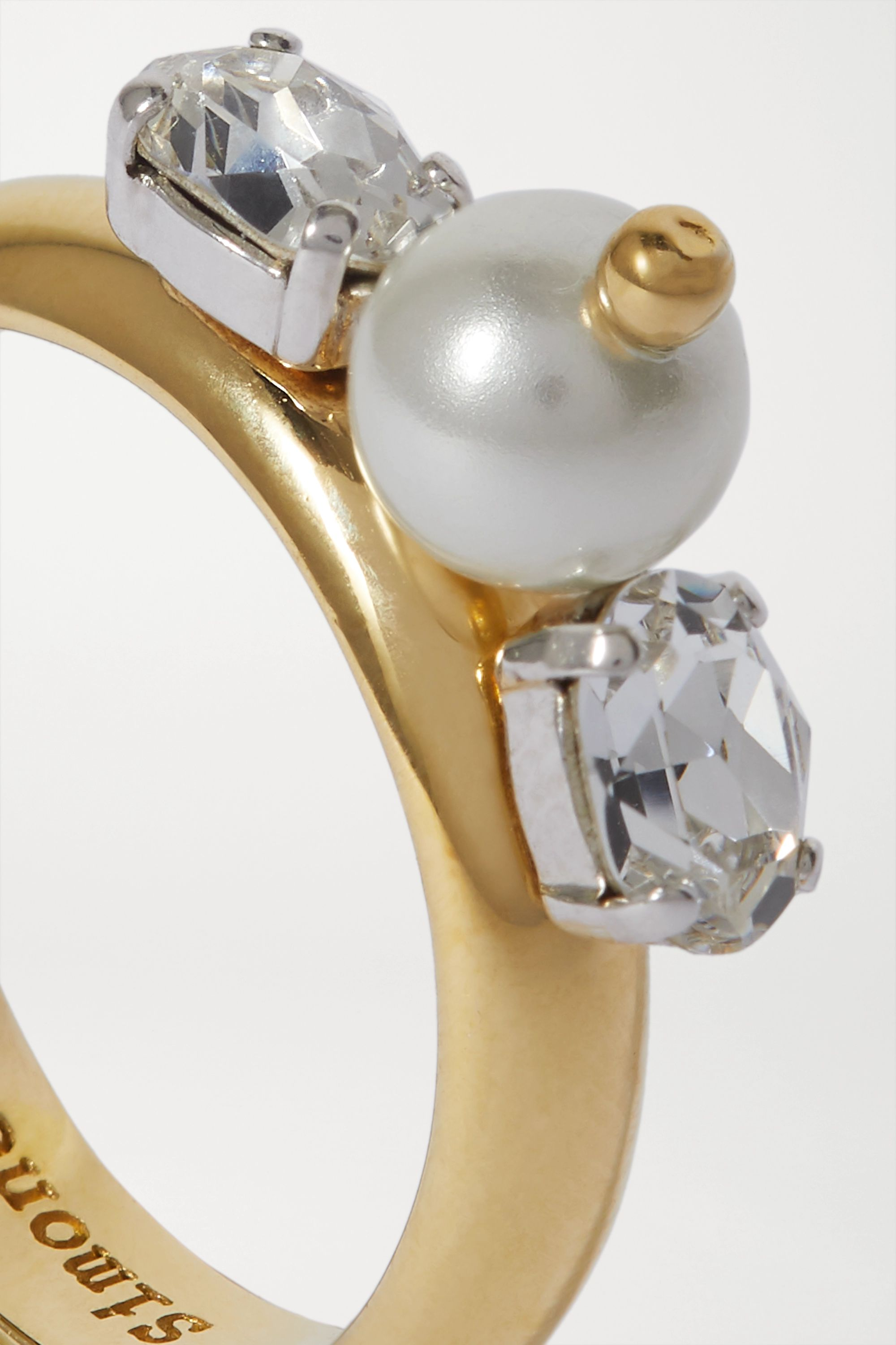 Simone Rocha Gold-tone crystal and faux pearl ring