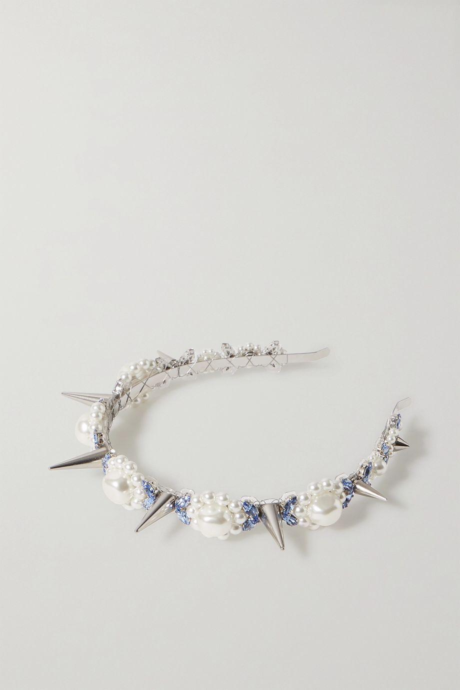 Simone Rocha Silver-tone, faux pearl and crystal headband