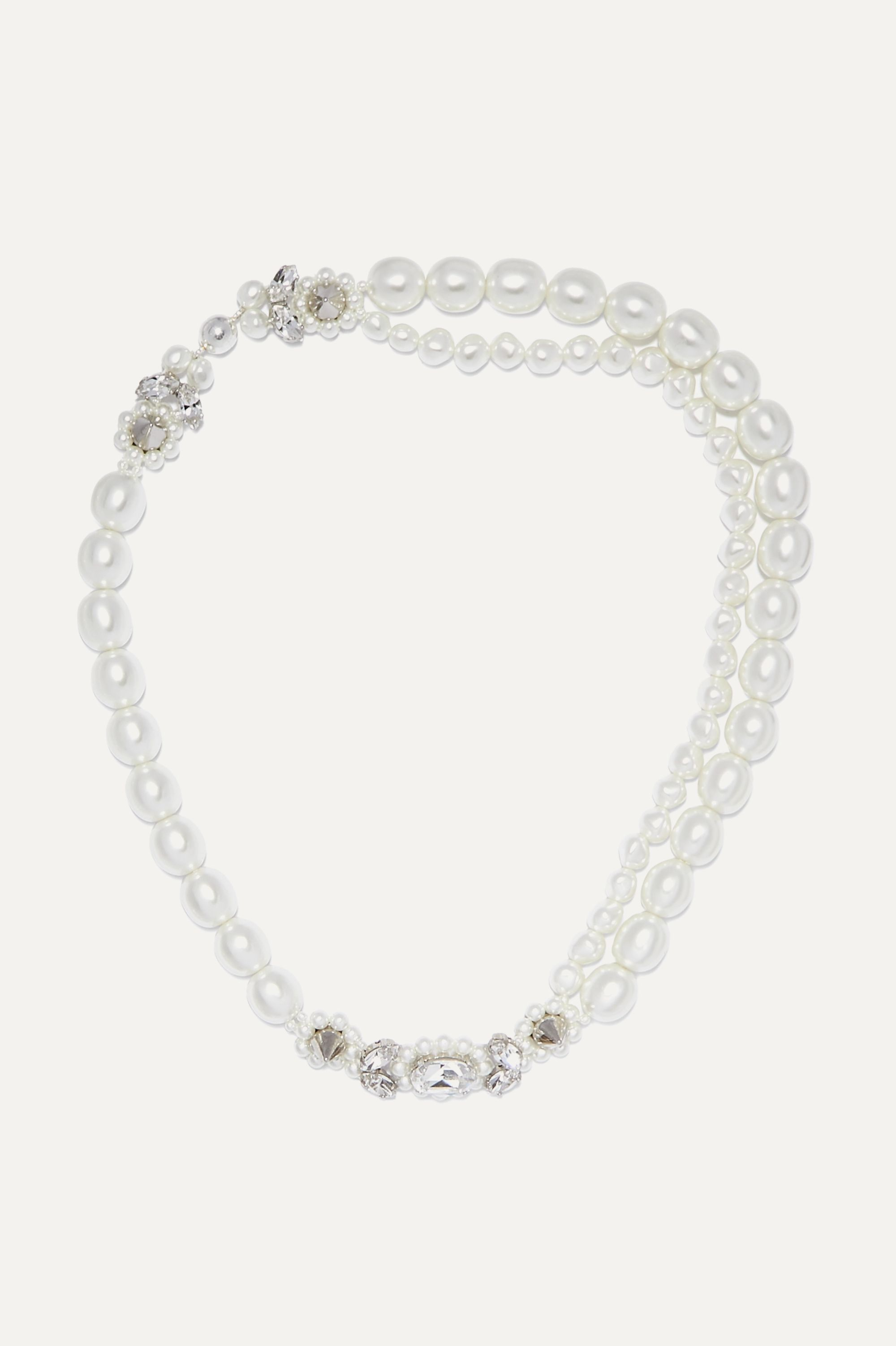 Simone Rocha Faux pearl, crystal and silver-tone necklace