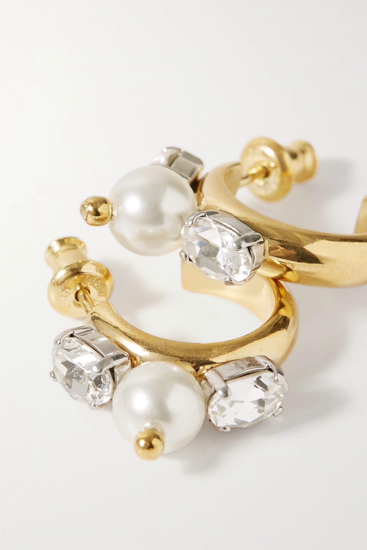 Simone Rocha Gold-tone, crystal and faux pearl hoop earrings