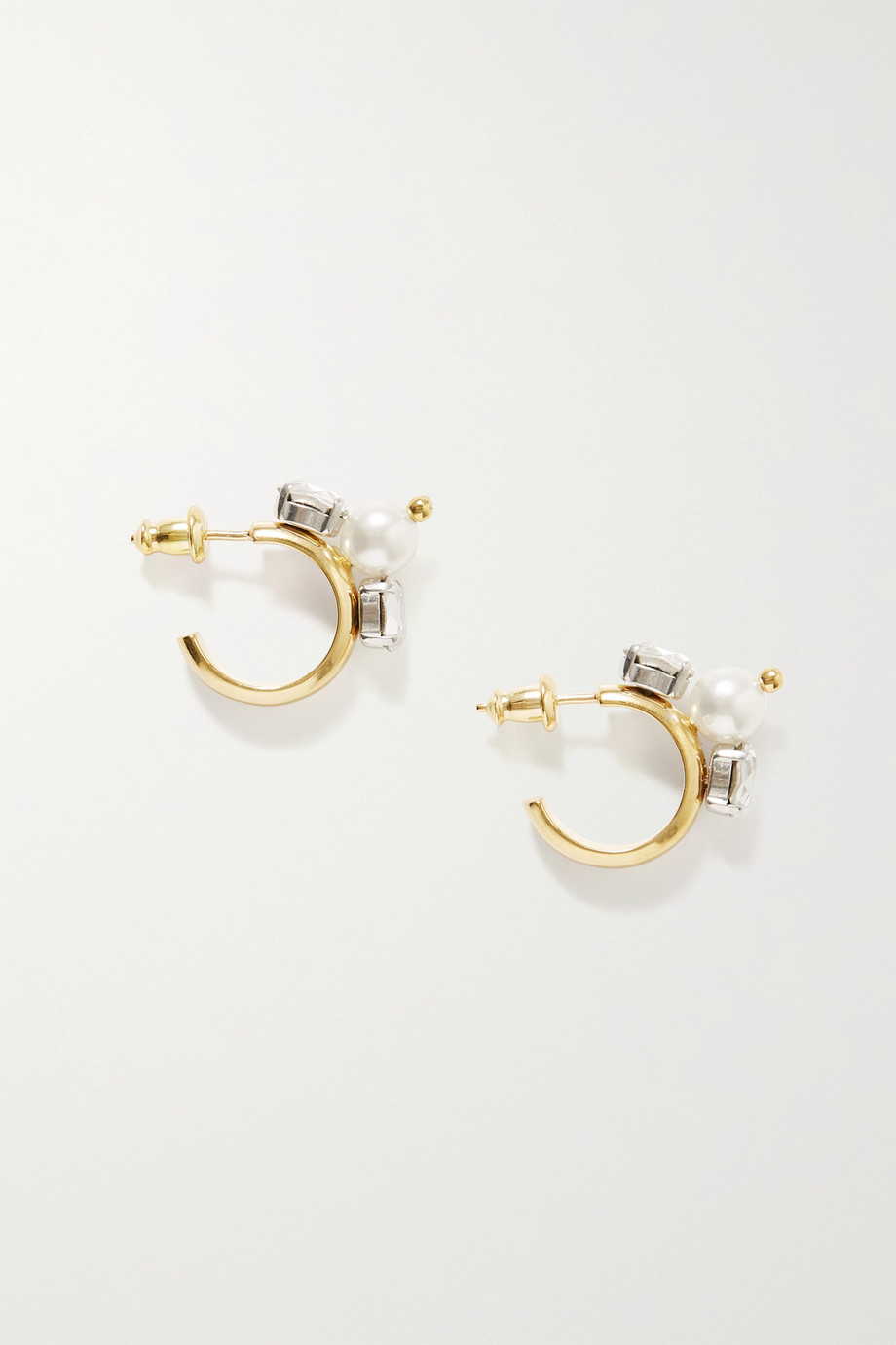 Simone Rocha Gold-tone, crystal and faux pearl hoop earrings