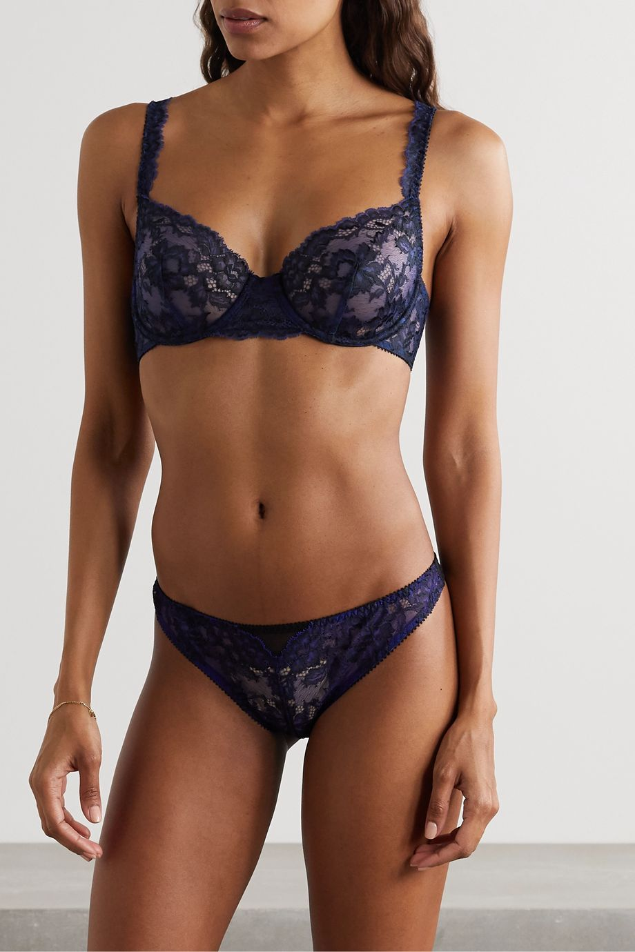 Journelle Chloe tulle-trimmed stretch-lace underwired soft-cup bra