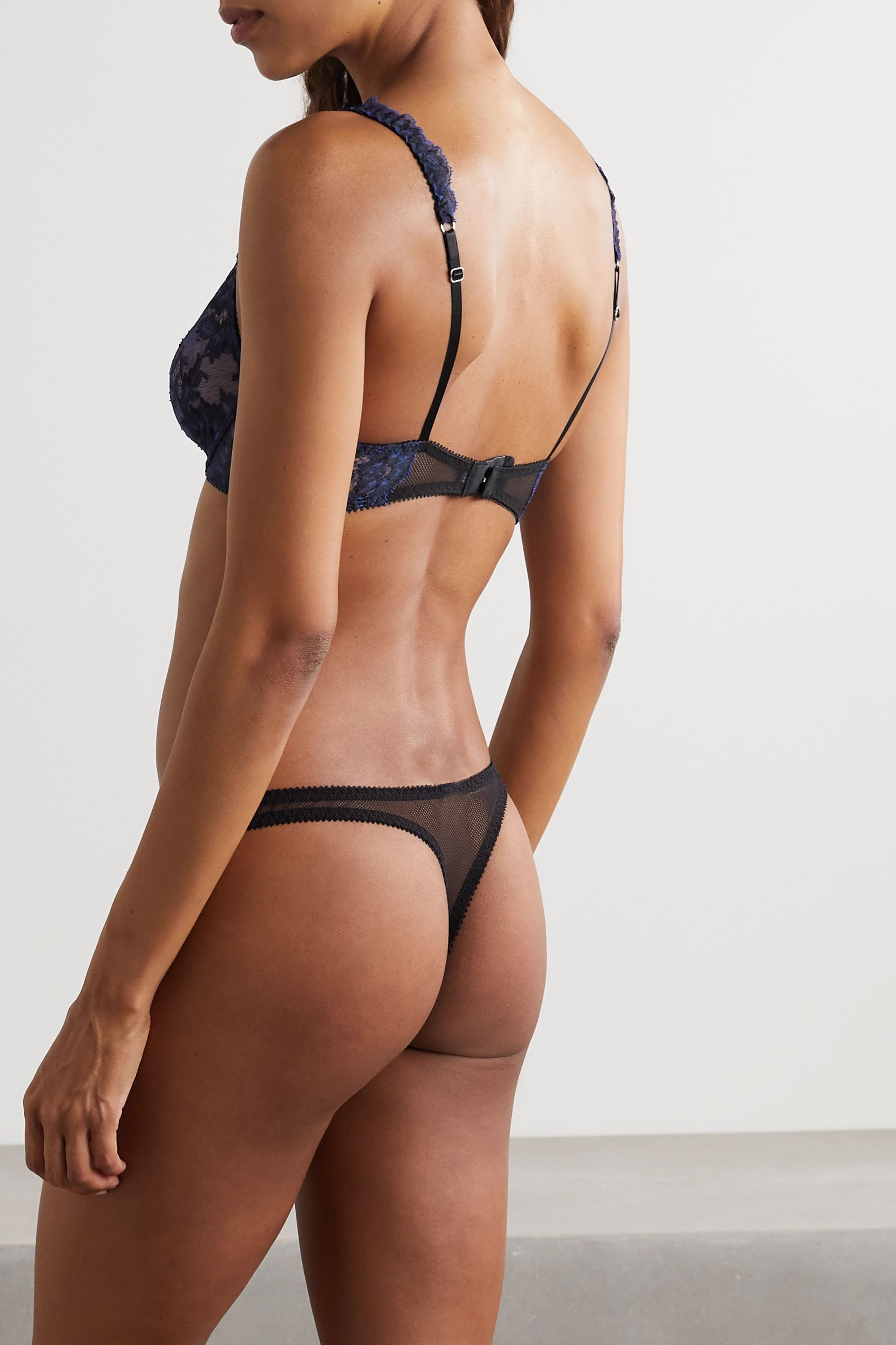 Journelle Chloe tulle-trimmed stretch-lace thong
