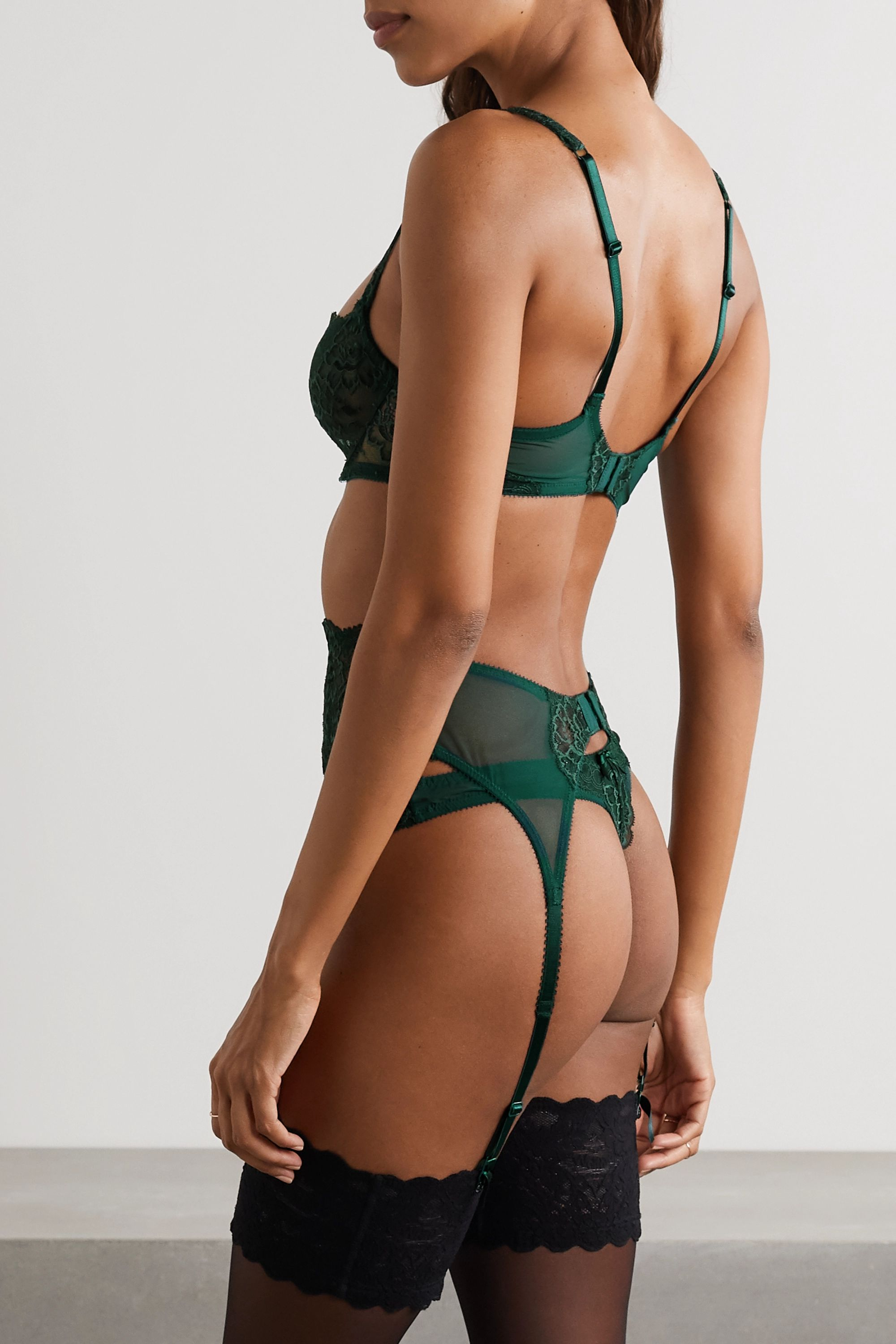Journelle Isabel lace and tulle suspender belt
