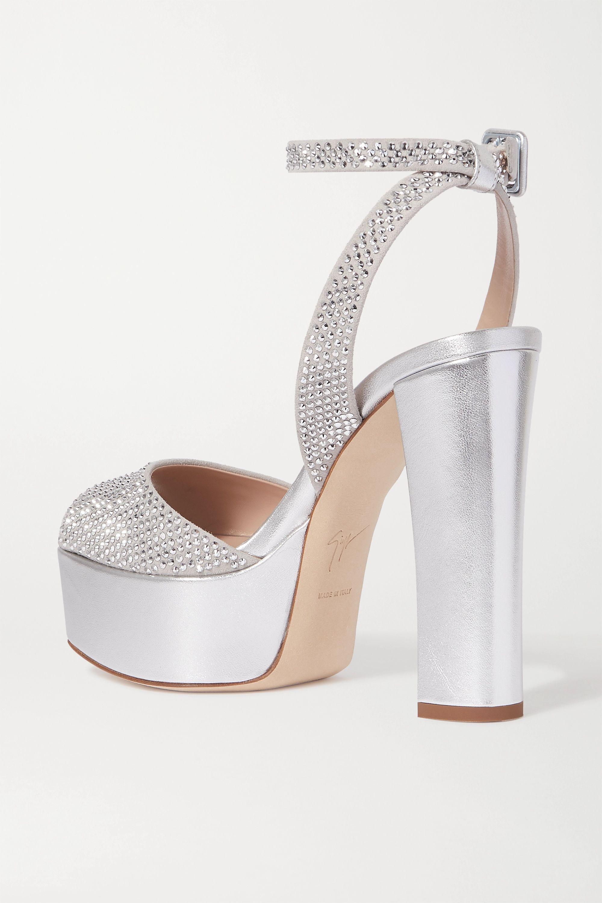 Giuseppe Zanotti Lavina crystal-embellished metallic leather platform sandals