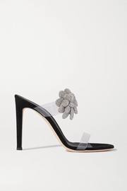 Giuseppe Zanotti 105 crystal-embellished PVC and suede sandals