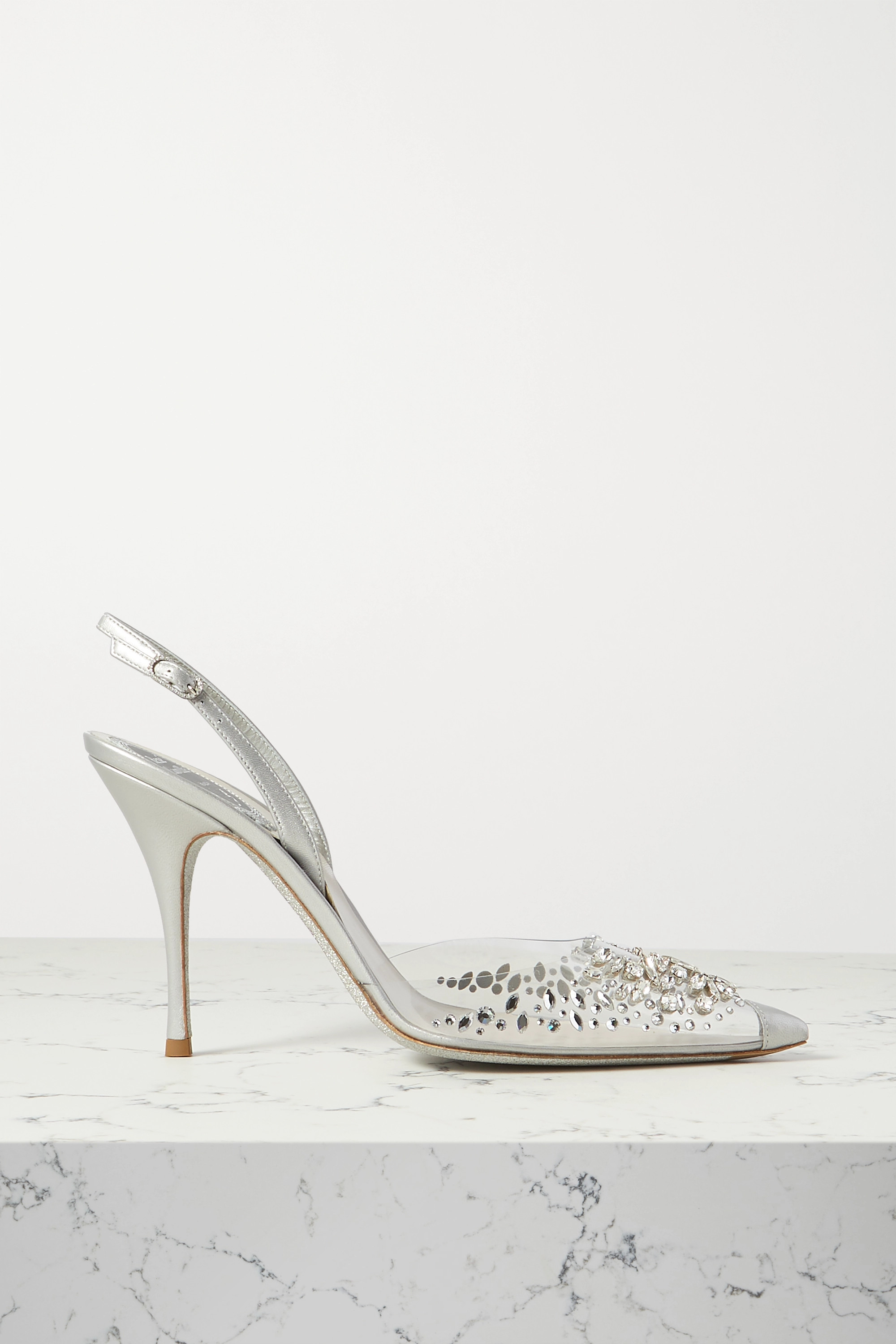 René Caovilla Claire crystal-embellished metallic leather and PVC slingback pumps