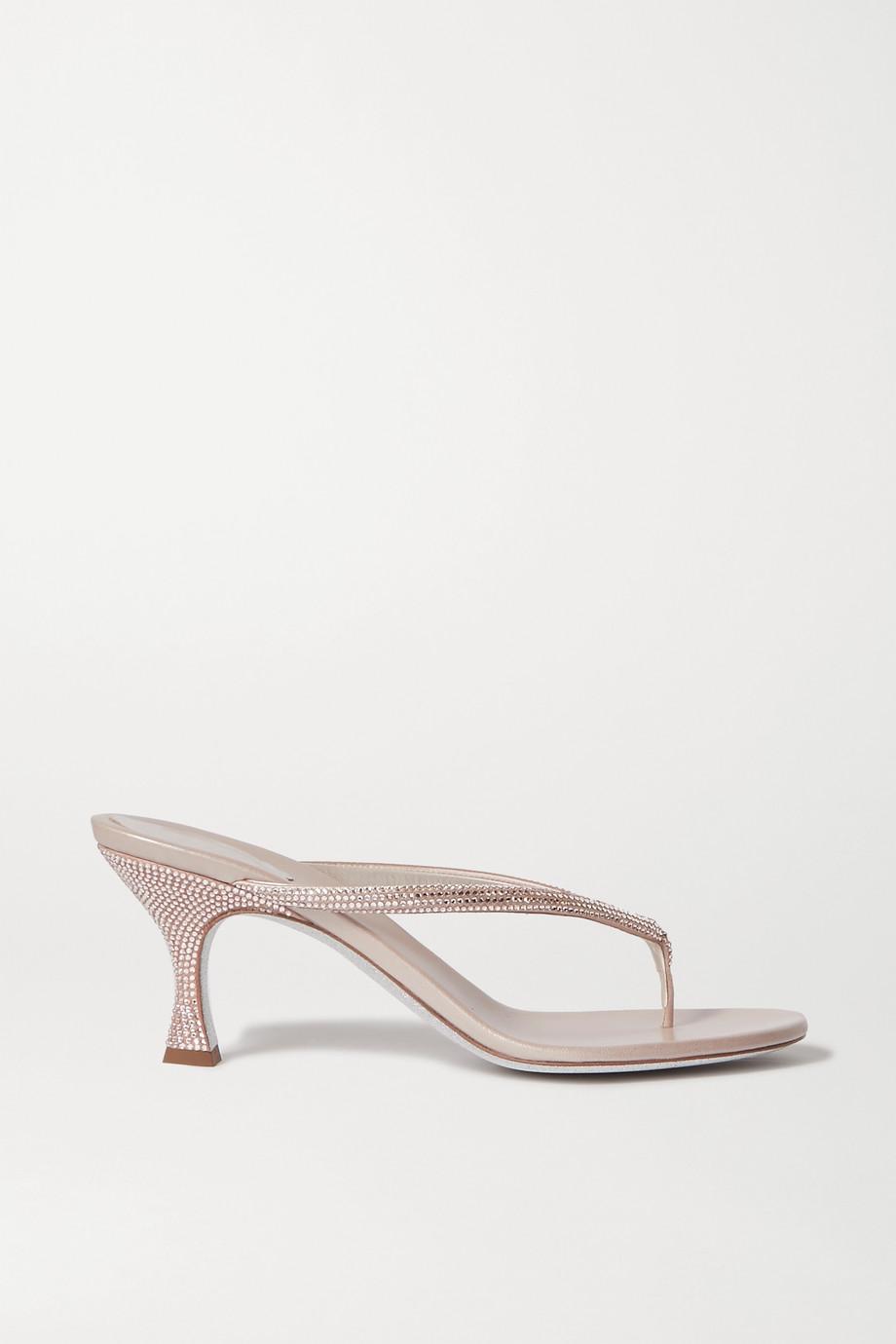 René Caovilla 水晶缀饰缎布皮革凉鞋