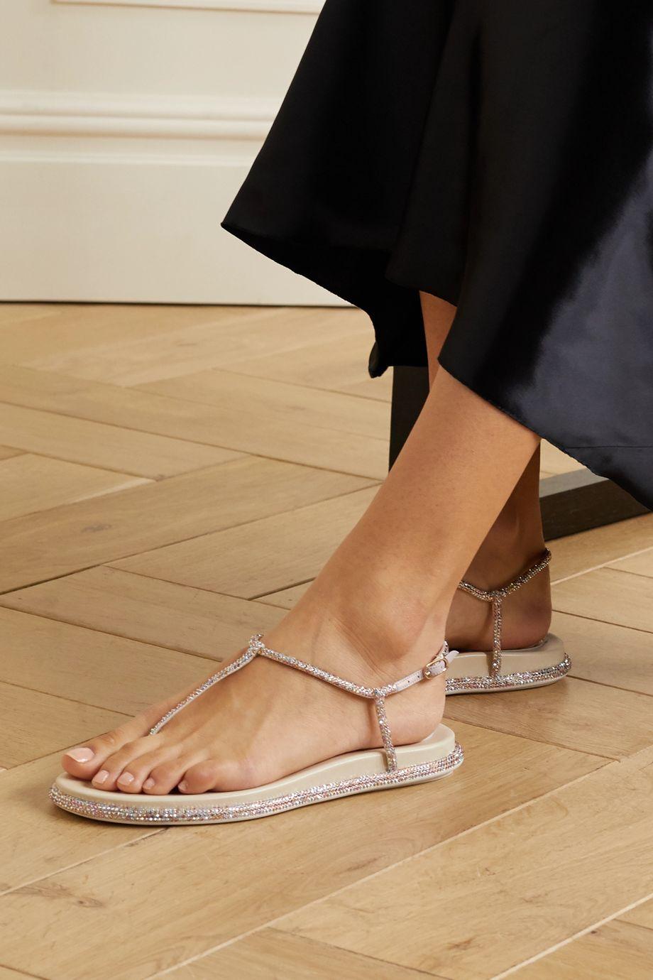 René Caovilla Diana crystal-embellished satin sandals
