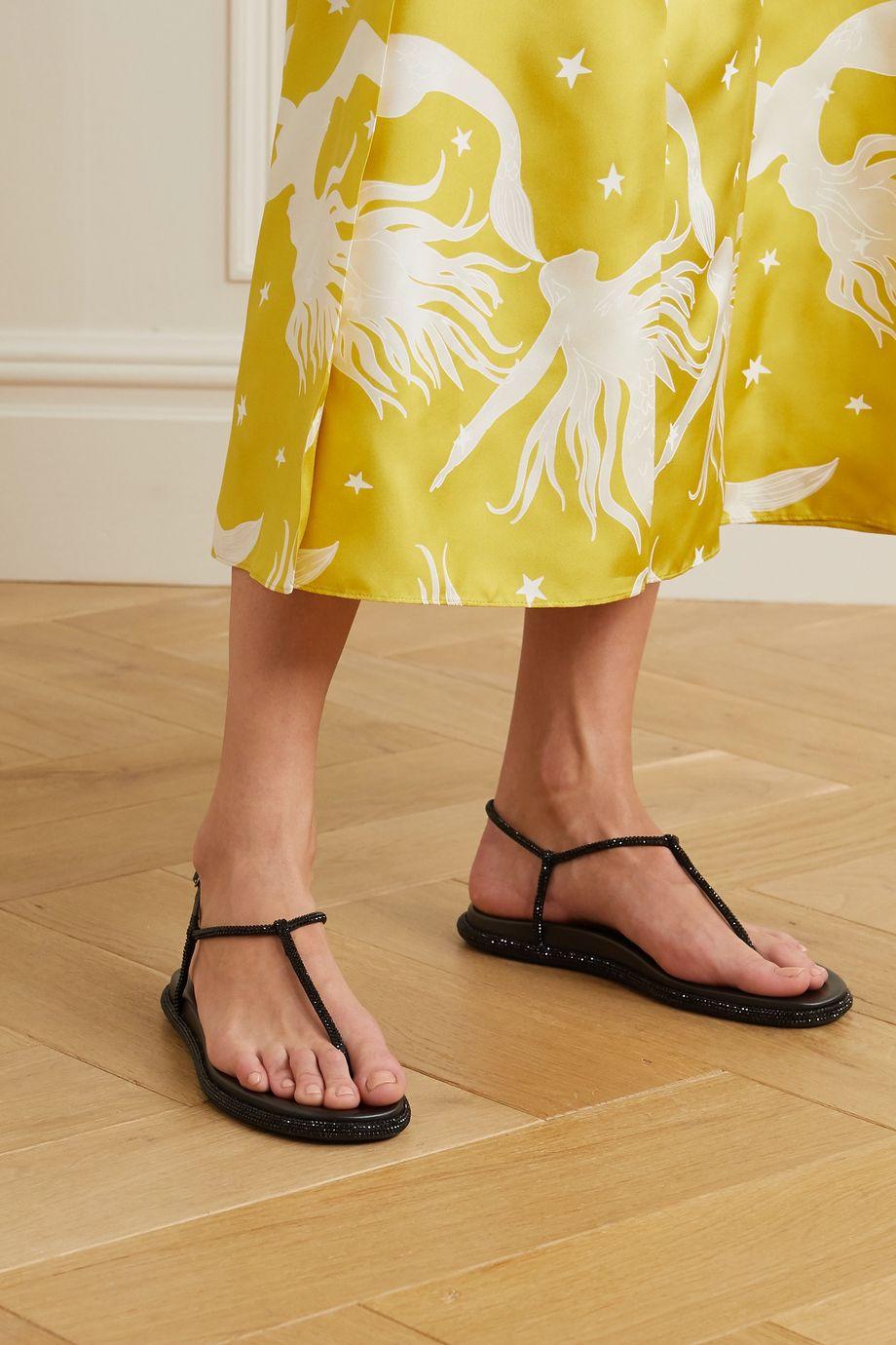 René Caovilla Leather-trimmed crystal-embellished satin sandals