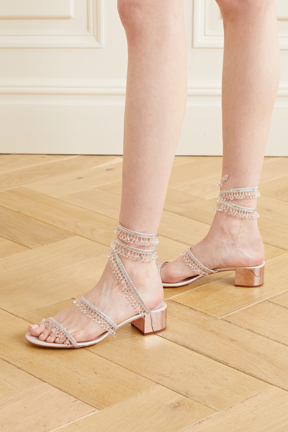 René Caovilla Cleo embellished satin and metallic leather sandals
