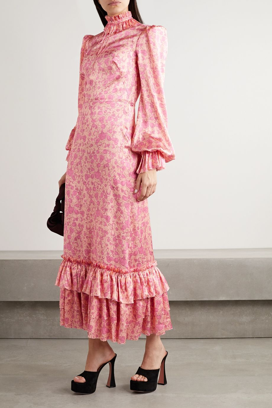 The Vampire's Wife Ruffled floral-print silk-satin maxi dress