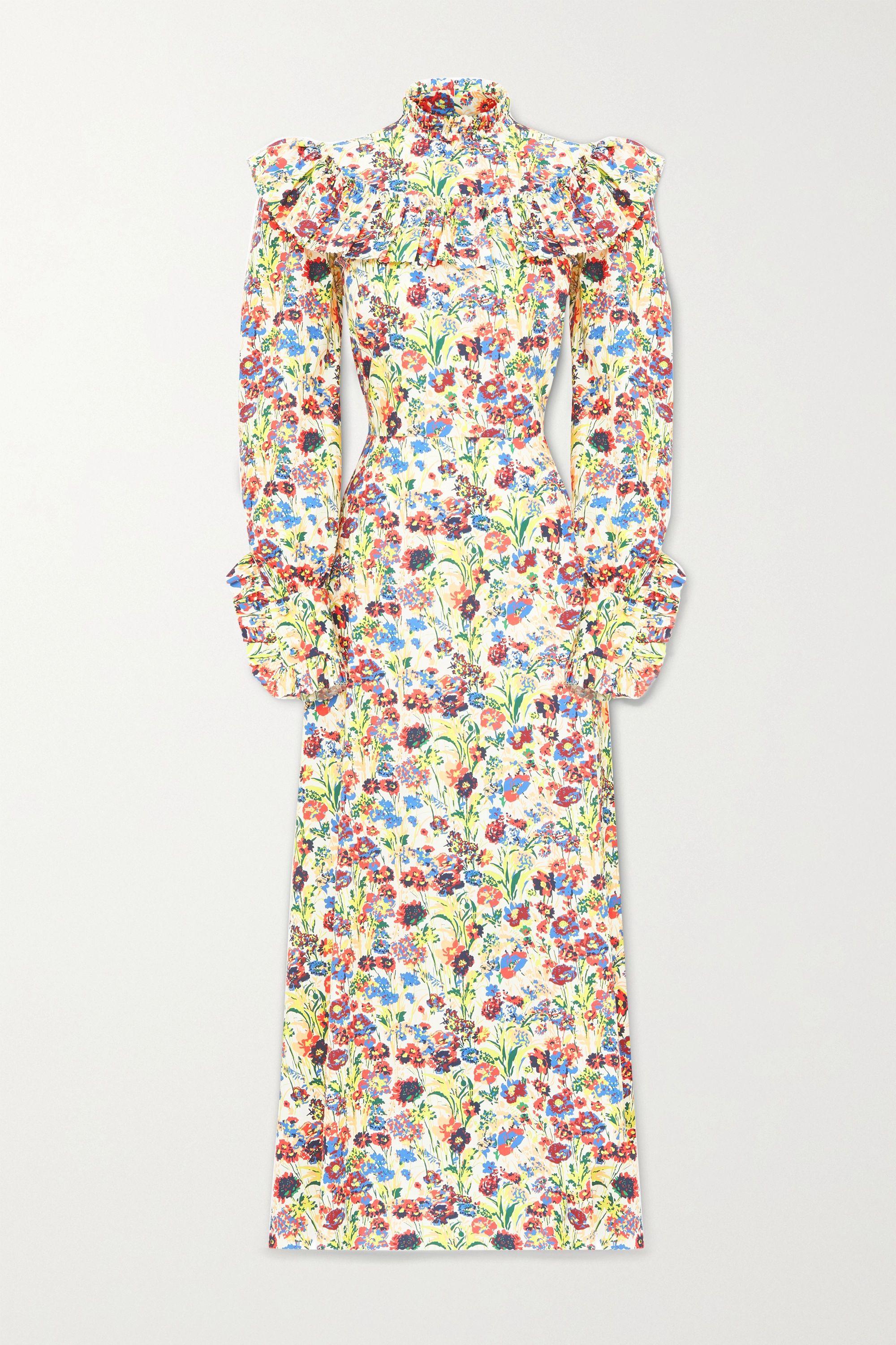 The Vampire's Wife Firefly ruffled floral-print cotton-poplin maxi dress