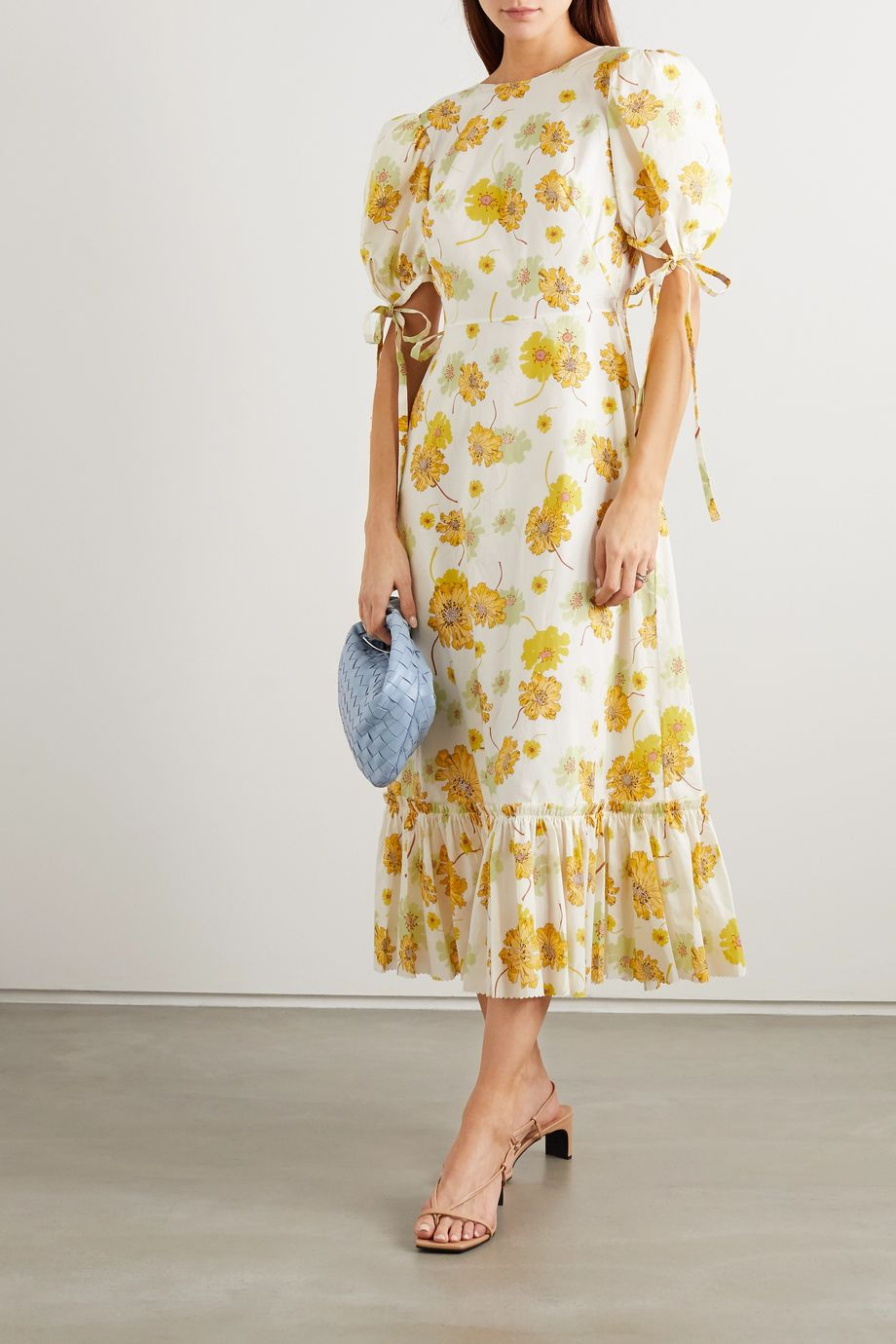 The Vampire's Wife Ruffled floral-print cotton wrap dress