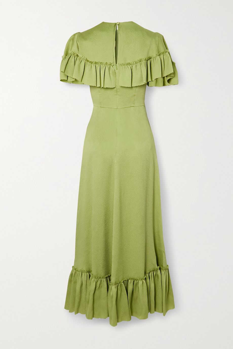 The Vampire's Wife Ruffled hammered silk-satin midi dress