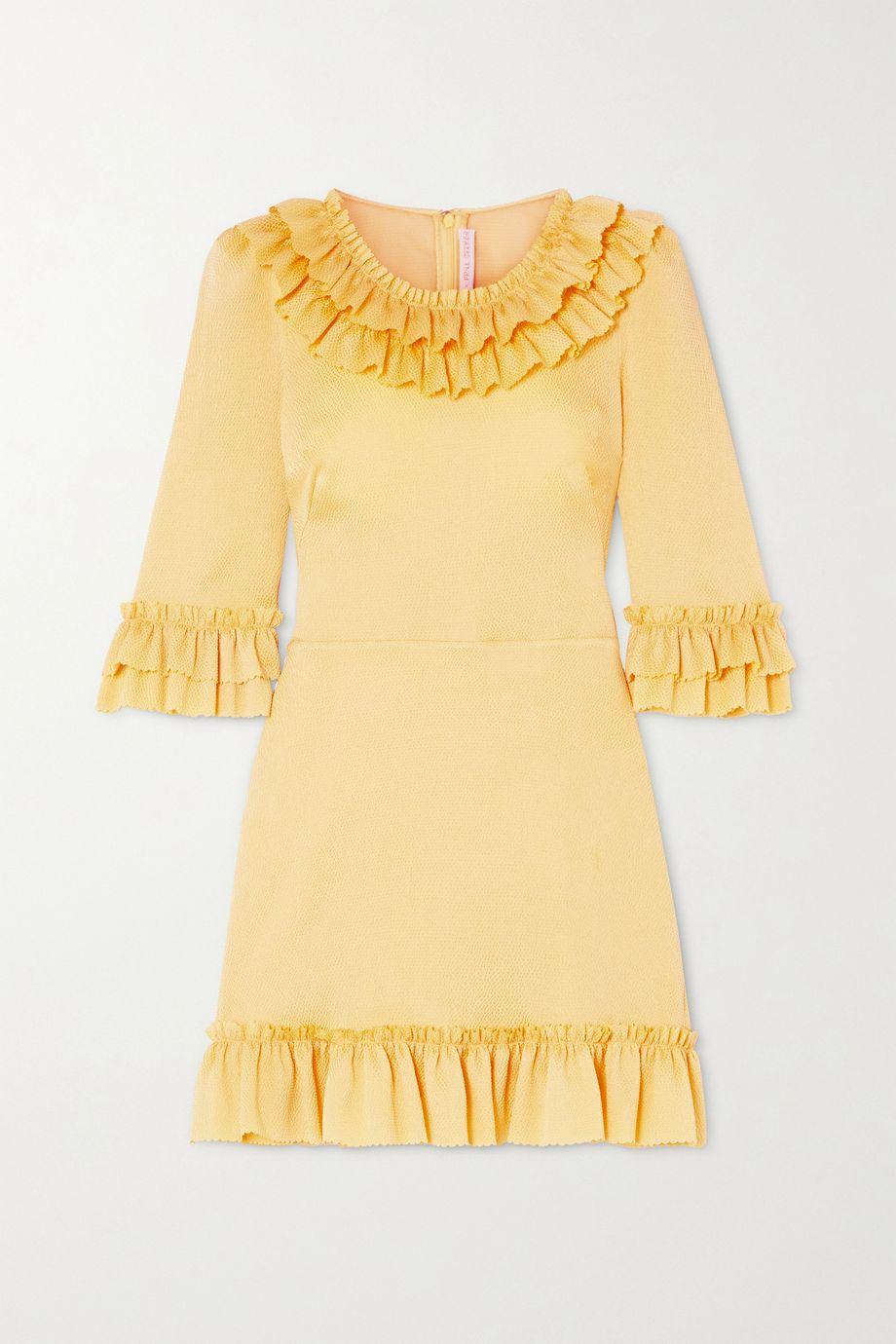 The Vampire's Wife Ruffled hammered silk-blend satin mini dress