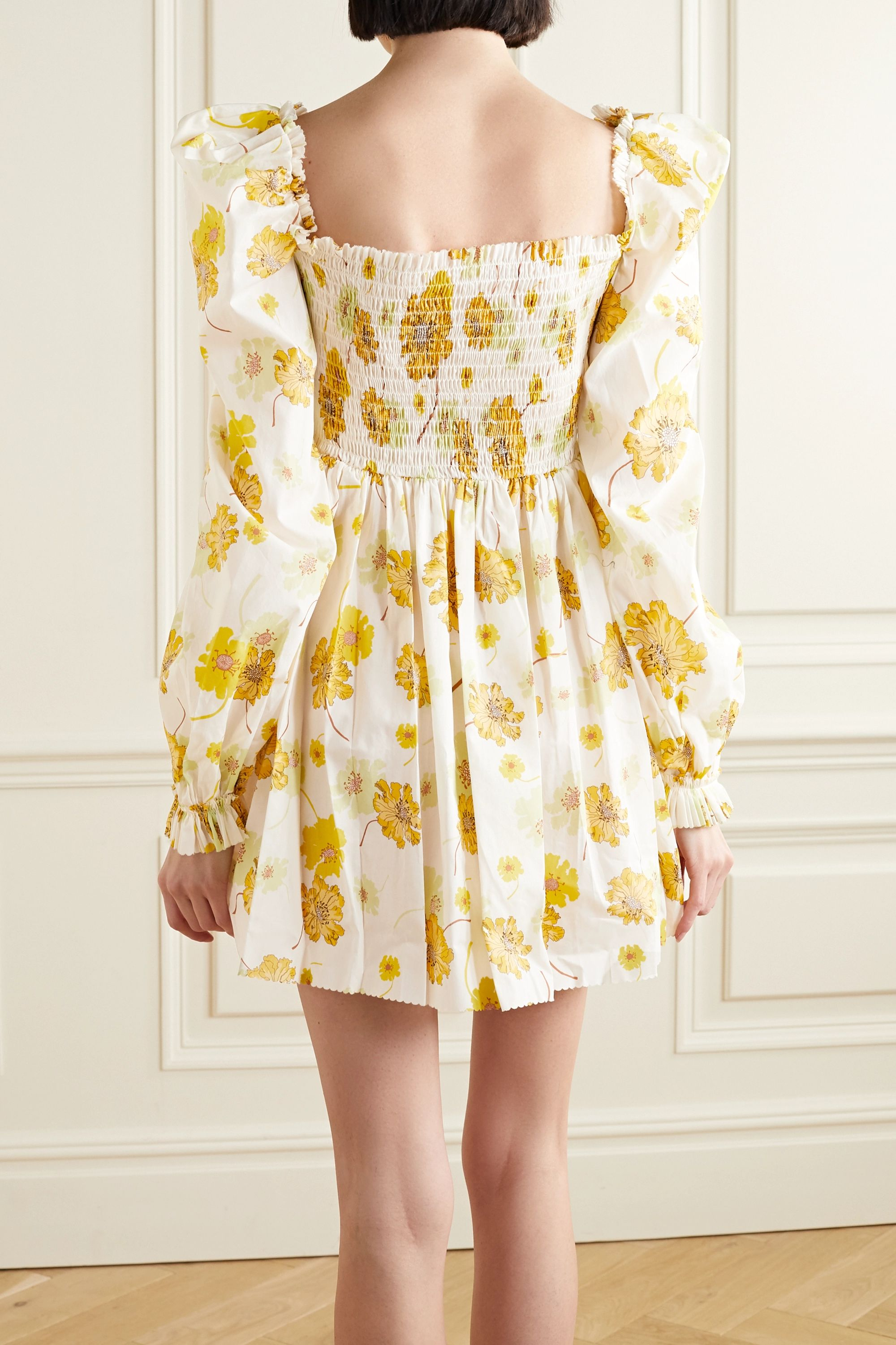 The Vampire's Wife McLoughland smocked floral-print cotton mini dress