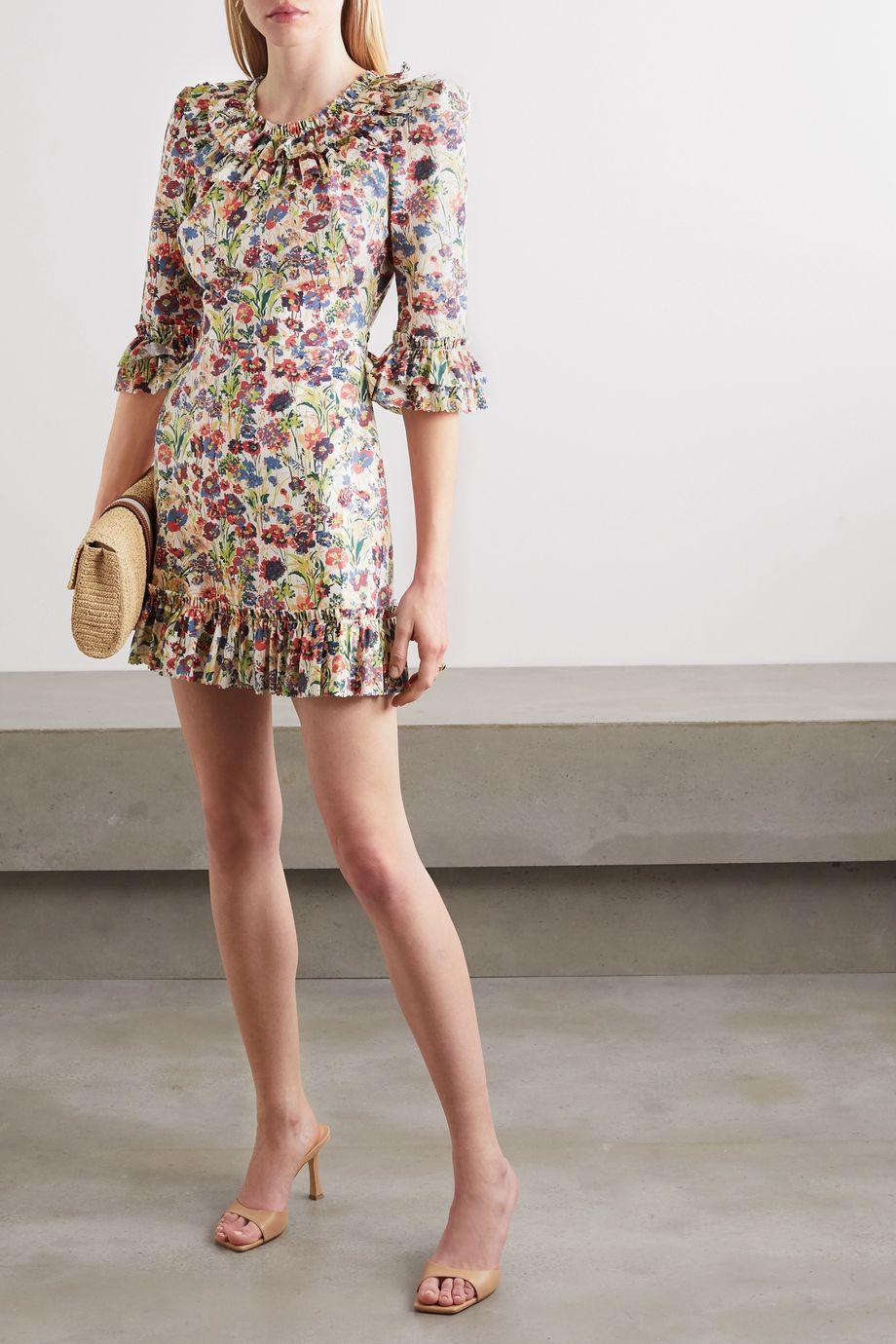 The Vampire's Wife Rarena ruffled floral-print cotton-poplin mini dress