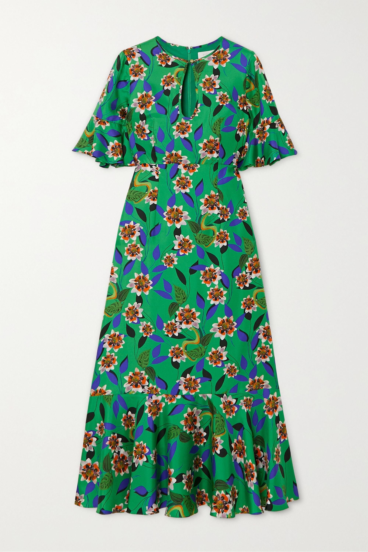Borgo de Nor Vivian ruffled floral-print silk-twill midi dress