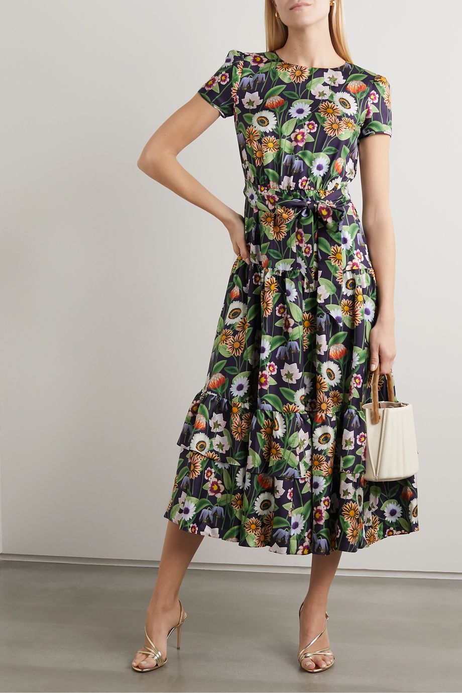 Borgo de Nor Elisa tiered floral-print silk-satin midi dress