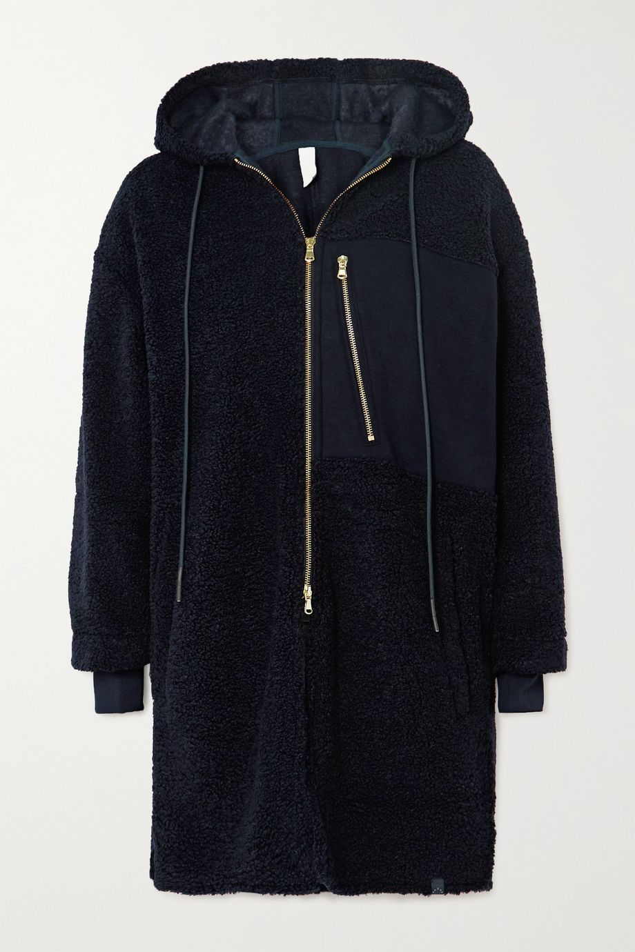 Varley Olympus oversized hooded jersey-paneled faux shearling coat
