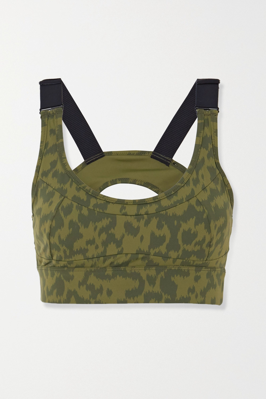 Varley Edris cutout leopard-print stretch sports bra