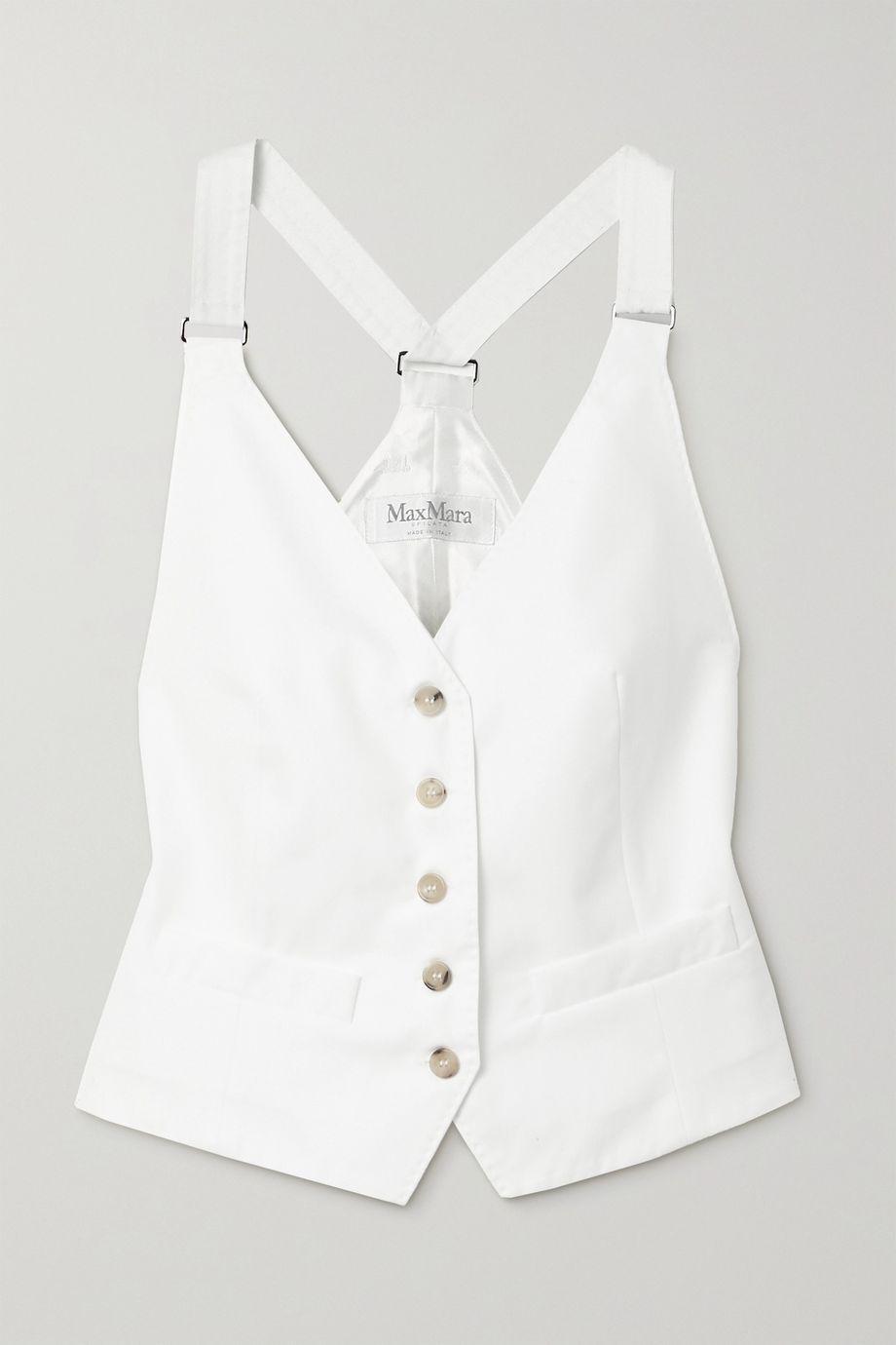 Max Mara Remo cotton-twill and satin-twill jacquard vest