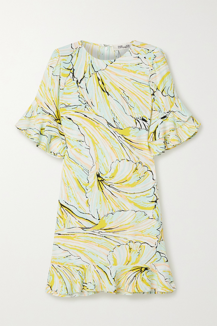 DVF Tatum ruffled printed crepe mini dress,Pastel yellow