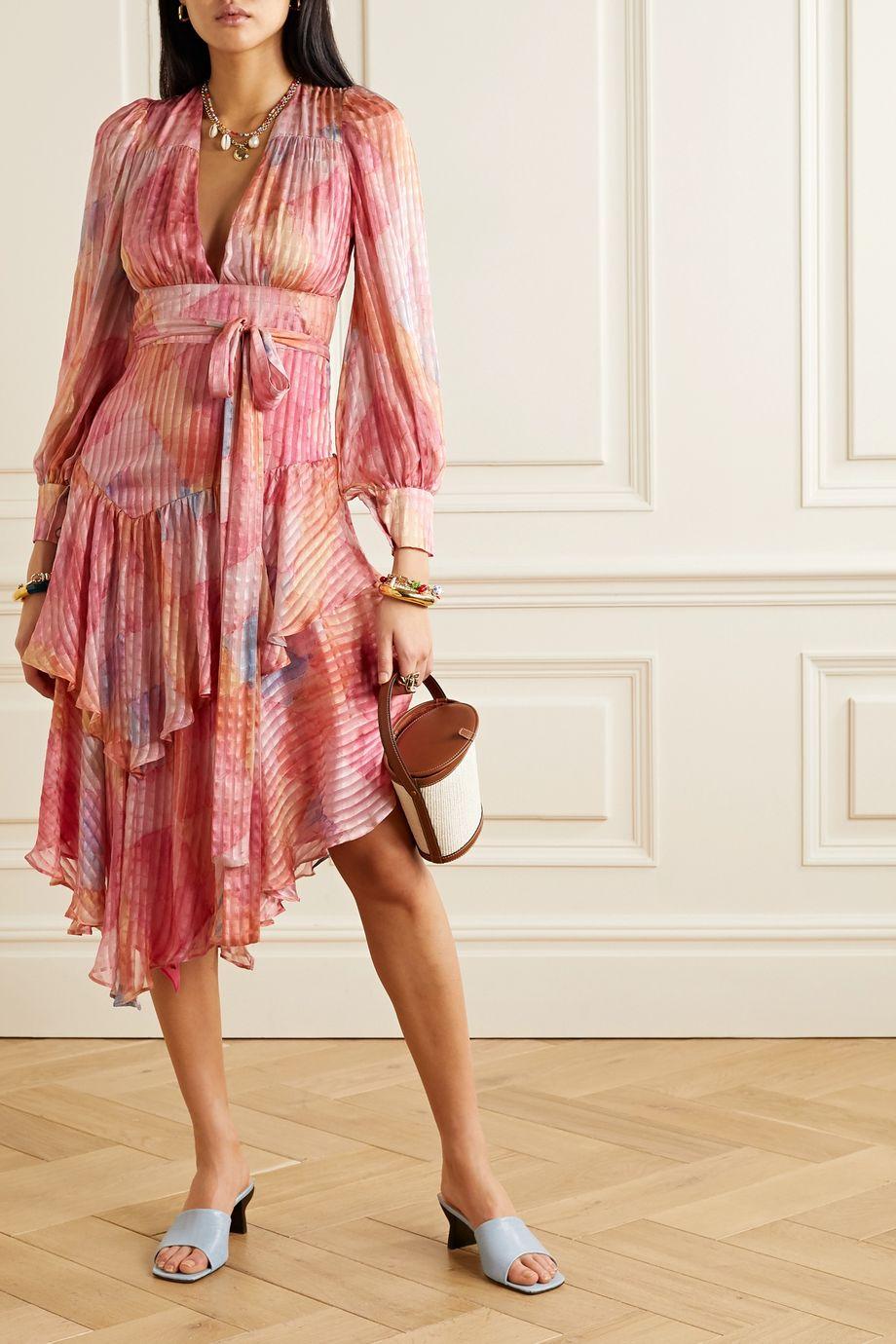 LoveShackFancy Meridian ruffled printed silk-satin jacquard midi dress