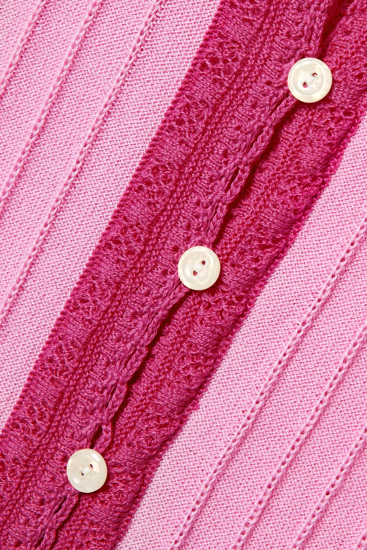 LoveShackFancy Benny crochet-trimmed Pima cotton and modal-blend intarsia cardigan