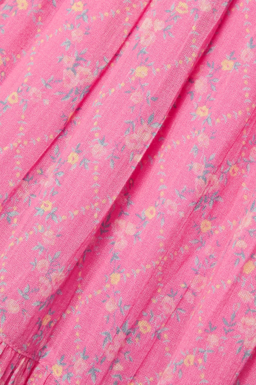 LoveShackFancy Rigby shirred floral-print cotton-gauze midi dress
