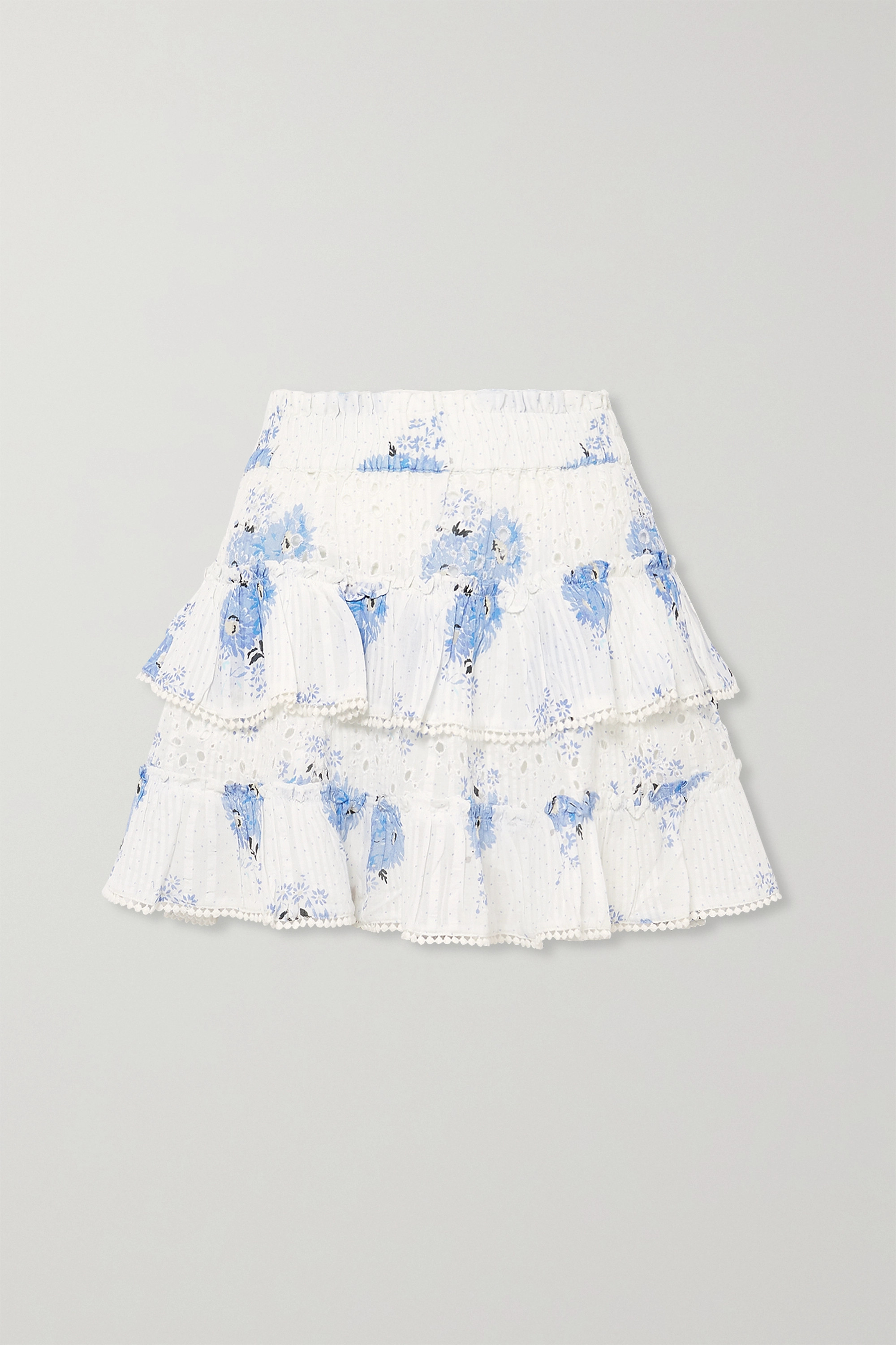 LoveShackFancy Bliss tiered printed broderie anglaise cotton-voile mini skirt