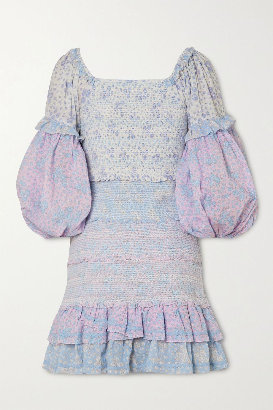 LoveShackFancy Ensley shirred floral-print cotton mini dress