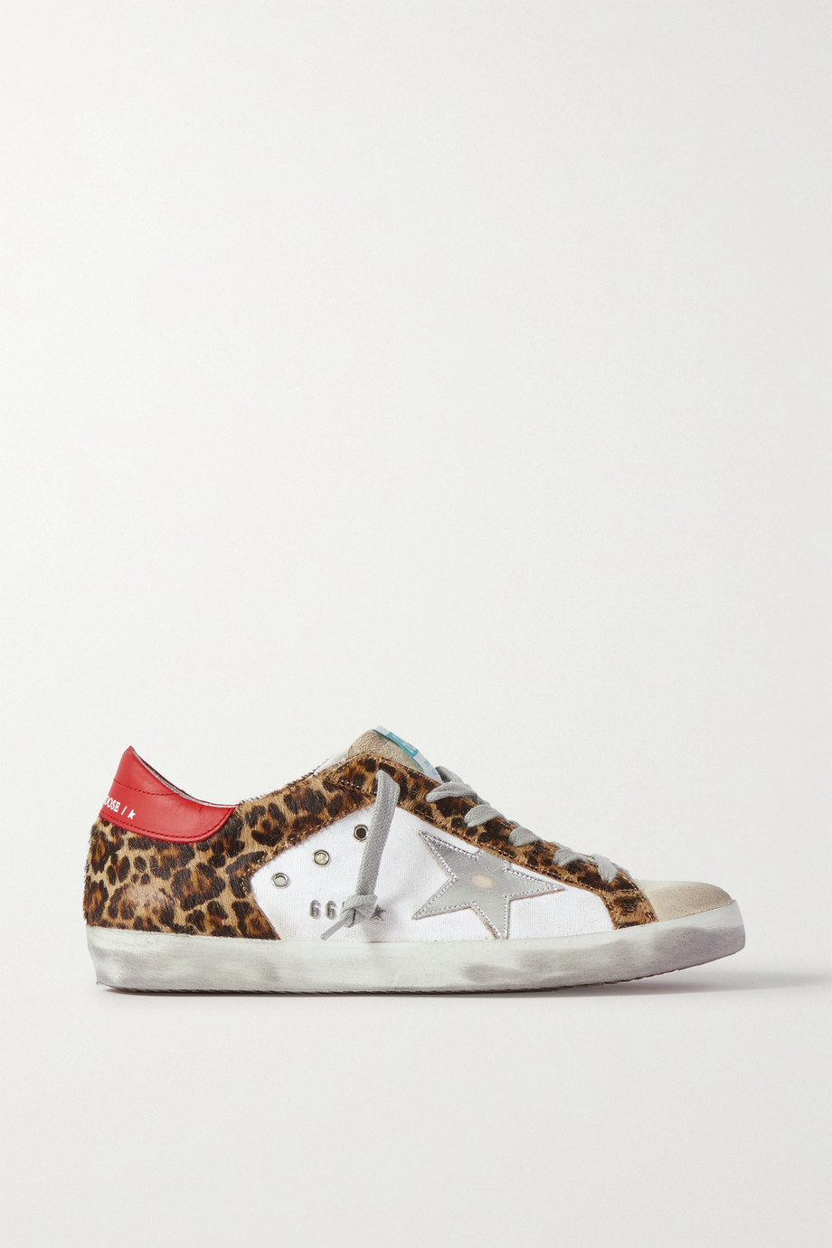 Golden Goose Superstar distressed leopard-print calf hair, leather and suede sneakers